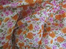 Vintage Cotton Lawn Fabric-Lightweight Crisp-Orange & Pink Floral 56W BTHY