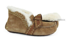 UGG Poler Chestnut Brown Bow Suede Fur Slippers Womens Size 8 *NIB*