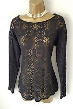 GOTHIC Black Sheer Lace Tunic Blouse 12 Urban Nu Goth Next VIntage Victorian