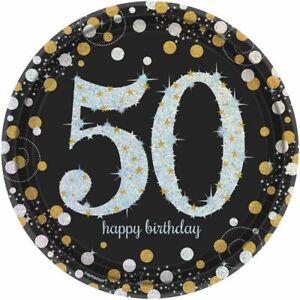 Amscan Pack Of 8 50 Sparkling Celebrations Gold Prismatic Round Paper, 23Cm