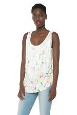 Desigual women's long tunic tank with tassel front Large