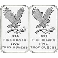 Trademark Bald Eagle 5oz .999 Fine Silver Bar by SilverTowne-QTY of 2