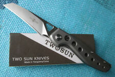 New Twosun Knives D2 Titanium Front Fast Open Pocket Folding Knife TS108-Sand