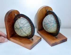 Lovely Pair of Vintage Globe Design Bookends with Wooden Surrounds. 14.5cms Tall