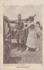 World War 1 Army Soldier Surrendering to his Girlfriend Postcard 1917