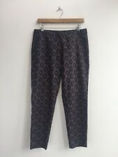 UZMA BOZAI Black Tan Patterned Tapered Ankle Chic Silk Trousers - UK 10