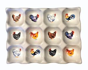 White Porcelain Ceramic Egg Tray,  Chicken Egg Holder, Egg Stand, Chicken Gift