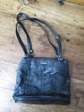 FABRETTI SMALL BLACK FAUX LEATHER HANDBAG SHOULDER BAG