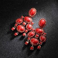 Boucles d'Oreilles Clou Doré Rouge Oval Chandelier Oriental Pendante Vintage X11