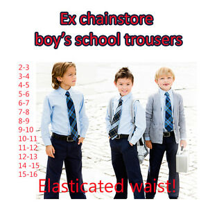 BOYS SCHOOL TROUSERS EX M/S IN GREY, BLACK AND NAVY SIZES 3-16