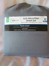 Mainstays Soft Microfiber Sheet Set Queen Gray 4 Pieces in a Bag