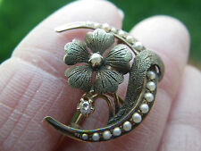 Art Nouveau 10K Gold Moon Pin w/Flower Pearls and a Diamond