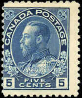 Mint H Canada 5c 1914 VG-F Scott #111 King George V Admiral Stamp