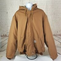 Carhartt Mens Hooded Coat 2XL Tall Color Tan Brown FR Cat  4 Duck Quilt Lined
