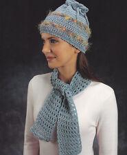 Crochet Pattern ~ LADIES BEAUTIFUL HAT & OPEN-WORKED SCARF SET ~ Instructions