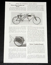 """1903 OLD MAGAZINE ARTICLE, GIBSON'S """"GIBSON GIRL"""" MOTOR TANDEM CYCLE & TRAILER!"""