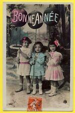 cpa BONNE ANNEE 1910 Enfants Jeunes Filles LAMPIONS Fantasy New Year Day