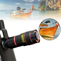 Black 8X Zoom Magnifier Optical Telescope Camera Lens w/Clip for Mobile Phone Jк