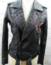 Blank Nyc Studded Floral Faux Leather Moto Jacket MSRP $168 Size Small