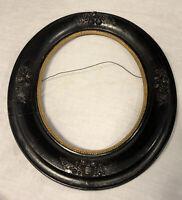 Antique Victorian Wood Oval Picture Frame Ebonized Gilded Liner Fruit