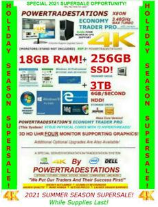 DELL TRADING COMPUTER 4MONITOR MaxTurbo 3.46GHz 18GBRAM 256GBSSD 3TBHDD DESKTOP