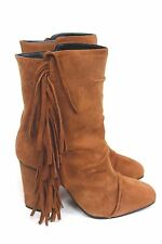GIUSEPPE ZANOTTI Brown Suede Fringed Alabama Ankle Boots 39.5 uk 6.5