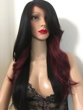 "burgundy/Red wig Ombre Black 24"" Long Wavy Layered Straight Hair , Heat Ok"