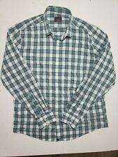 Mens UNTUCKIT Blue Green Plaid Long sleeve Button Down Shirt Slim Fit Large L