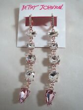 & clear crystal dangle earrings, Nwt Betsey Johnson Rose Gold Tone~ pink