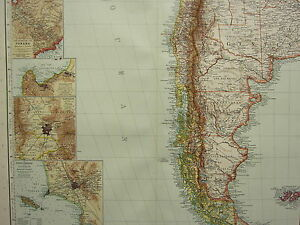 1907 DATED MAP ~ SOUTHERN SOUTH AMERICA CHILE FALKLAND ARGENTINA PANAMA LIMA