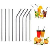 4 Stainless Steel Metal Reusable Cocktail Drinking Straws & 1 Cleaner Brush Set
