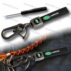 Black Leather Gift Decor Keychain Lanyard Quick Release Key chain for Landrover