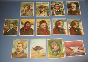 13 HASSAN Tobacco Cards - 1910's - Explorers & Animal Series - GD-VG Condition