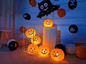 5 pieces Mini Cartoon Halloween Balloons Pumpkin with Lights Fast Inflatable