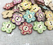 25X Wooden buttons sewing scrapbooking printing Flowers shape wood Crafts 25mm