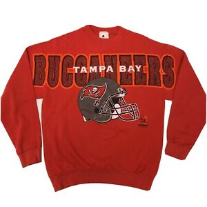 Vtg Riddell All Over Print 1997 BUCCANEERS Tampa Bay SPELLOUT 50/50 Sweatshirt L