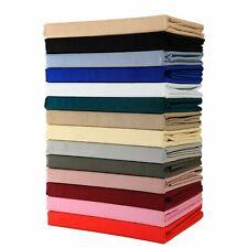 Plain Dyed Fitted Sheet Flat Sheet Base Valance Sheet Pillow Cases Bedding UK