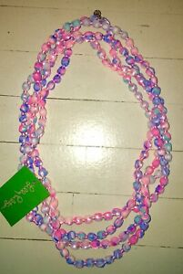 NWT Lilly Pulitzer Light Pascha Aquadesiac Fabric Wrapped Beaded Necklace Pink🛍