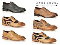 Mens London Brogues Watson Full Leather Brogues 5 Eye Lace Up Smart Shoes