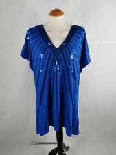 Ladies Top Size 20 EVANS Jersey Blue Sequin Party Evening Stretch