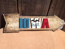 """Iowa State Flag This Way To Arrow Sign Directional Novelty Metal 17"""" x 5"""""""