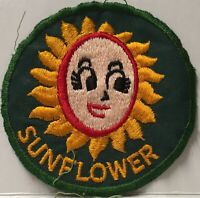 Sunflower Sew On Only Embroidered Patch ~ Flower Face Sunflower Girl ~ Vintage