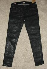 NEW Womens True Religion Jeans 31 Casey Low Super Skinny Black Tone On Tone $358