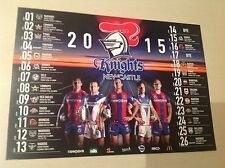 NRL NEWCASTLE KNIGHTS OFFICIAL 2015 team POSTER-ATTRACTIVE  2 SIDED -BARGAIN
