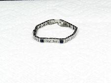 "Antique Art Deco Filigree 14K White Gold Blue Sapphire Bracelet 6.5"""