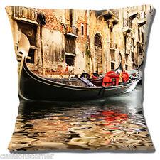 Venice Cushion Cover 16 inch 40cm Italian City Gondola on Canal & Old Buildings