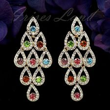 18K Gold Plated GP Color Crystal Rhinestone Chandelier Drop Dangle Earrings 9915