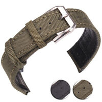 Nylon + Genuine Leather Watchbands Men Women Green Black Watch Band Strap