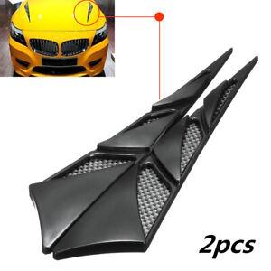 2Pcs Car Decor Air Flow Intake Scoop Bonnet Simulation Vent Cover Hood Black