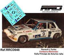 DECAL/CALCA 1/43; Renault 5 Turbo; Fombona-Menendez; Rally Principe 1984